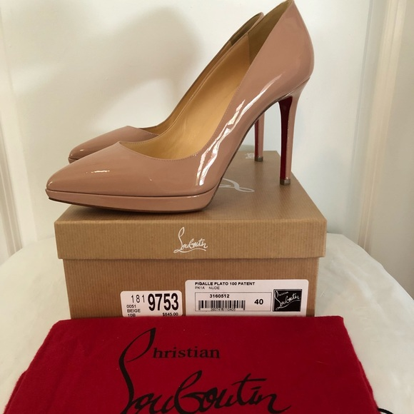 huge discount 06197 8098f Christian Louboutin Nude Patent Pigalle Plato 100 NWT